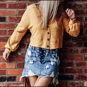 Vintage Wash Distressed Raw Hem Denim Skirt